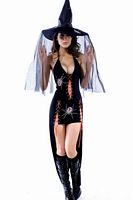Black Widow Gown with Witch Hat