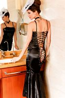 Black Mermaid Long Dress, Open Back