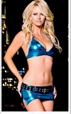 Metallic Blue Sport Bra, Thong, & Miniskirt Set