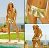 Gold Miniskirt and Mini Bra Bikini Set