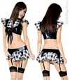 Black & White Plaid Schoolgirl Top & Skirt Set