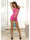 Pink Slotted Front Minidress