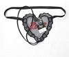 Lace Heart Twin G-String, Black