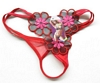 Red Embroidered 3-Flower G-String