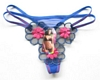 Blue Embroidered 3-Flower G-String