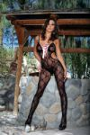 Bow-Tie Lace Bodystocking with Satin Lace-Up Front and Open Crotch